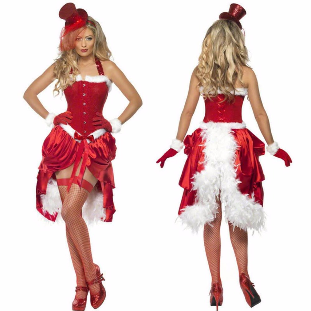 New high-quality Christmas party Christmas annual clown princess dress sexy adult performance clothing bar party costume red dre