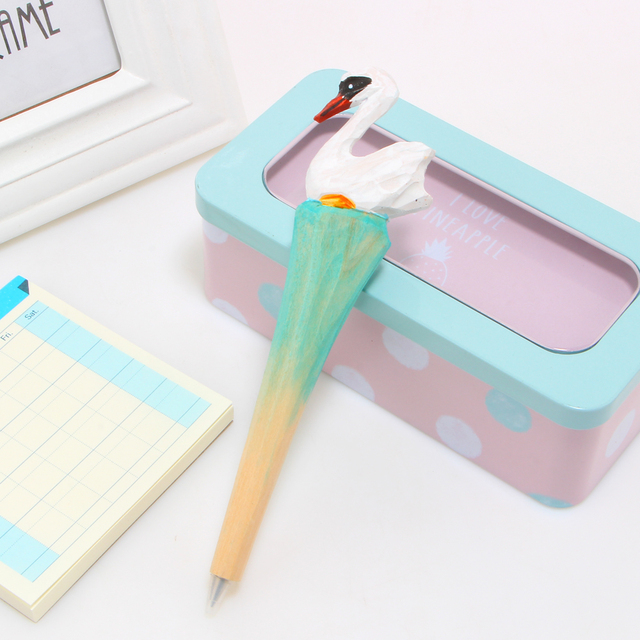 1pcs Novelty Creative Fashion Wood Swan Ballpoint Pen School Office Supplies Gifts For Kids Free Shipping