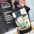 2017 mulheres primavera harajuku do punk impressão de caracteres preto rua blusa camisas de manga longa soltas bandage