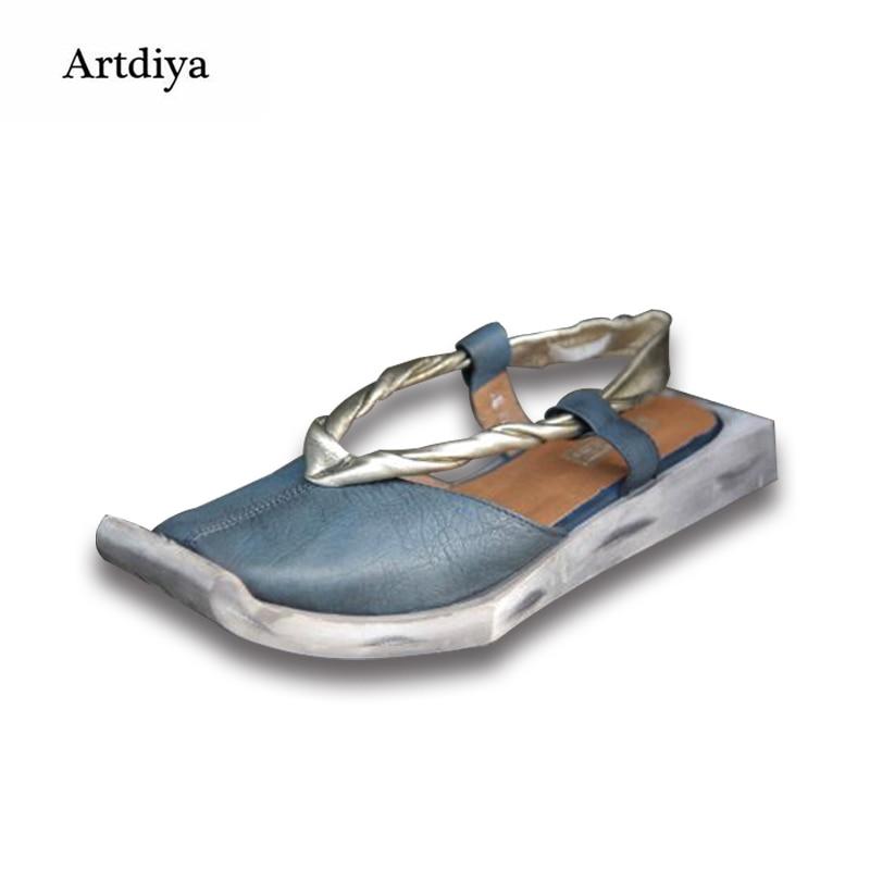 Artdiya Heißer verkauf echtem leder sandalen karree rindsleder frauen schuhe leder low heels casual sandalen 088 13-in Flache Absätze aus Schuhe bei  Gruppe 2