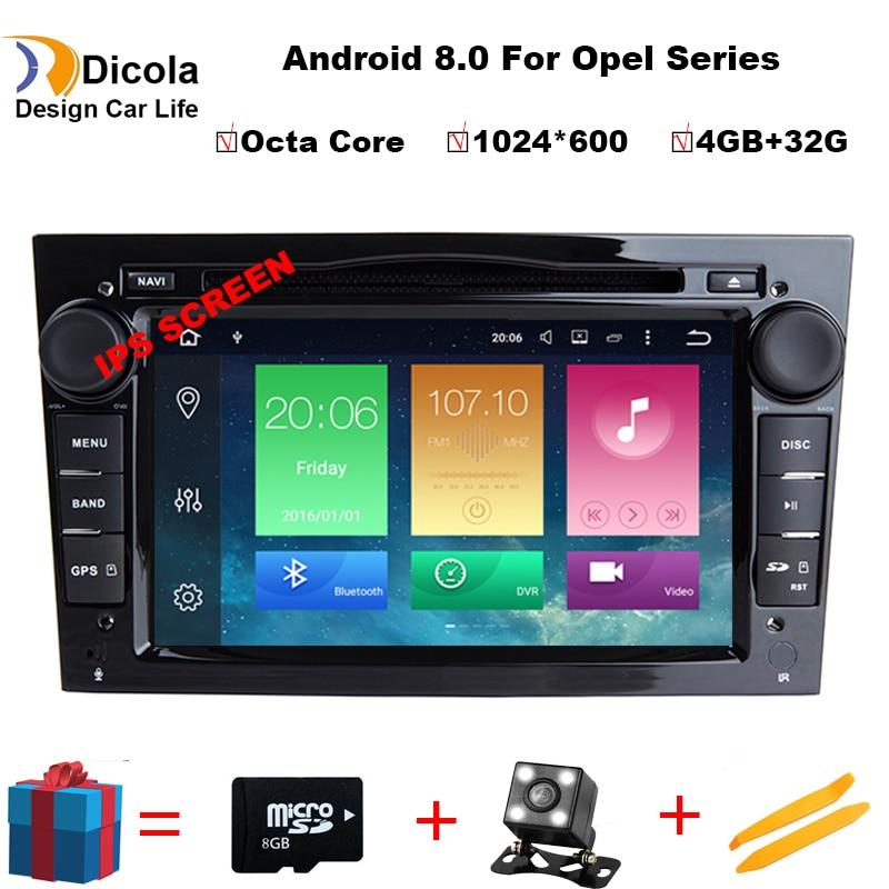 4G + 32G Octa Core Android 8,0 para OPEL Astra H Meriva Antara Zafira Veda Agila Corsa Vectra dvd del coche de navegación gps de apoyo DAB +