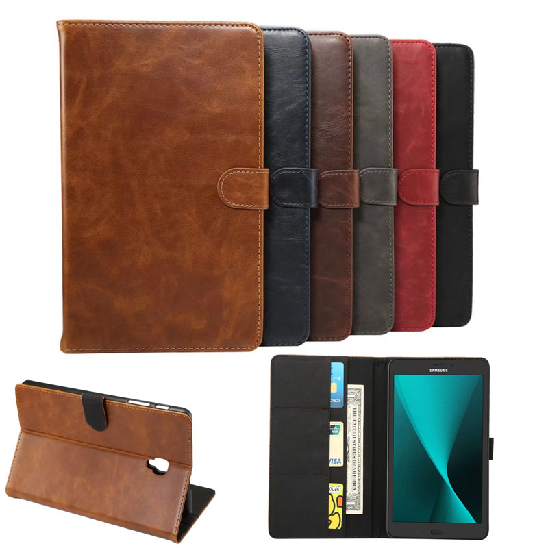 Business Crazy Horse Pattern PU Leather Flip Cover For Samsung Galaxy Tab A 8.0 T380 T385 2017 8.0 Inch Case For Samsung T380