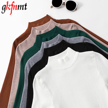 gkfnmt 2019 New Coming Autumn Turtleneck Pullovers Sweaters Primer shirt long sleeve Korean Slim-fit Tight Sweater Winter