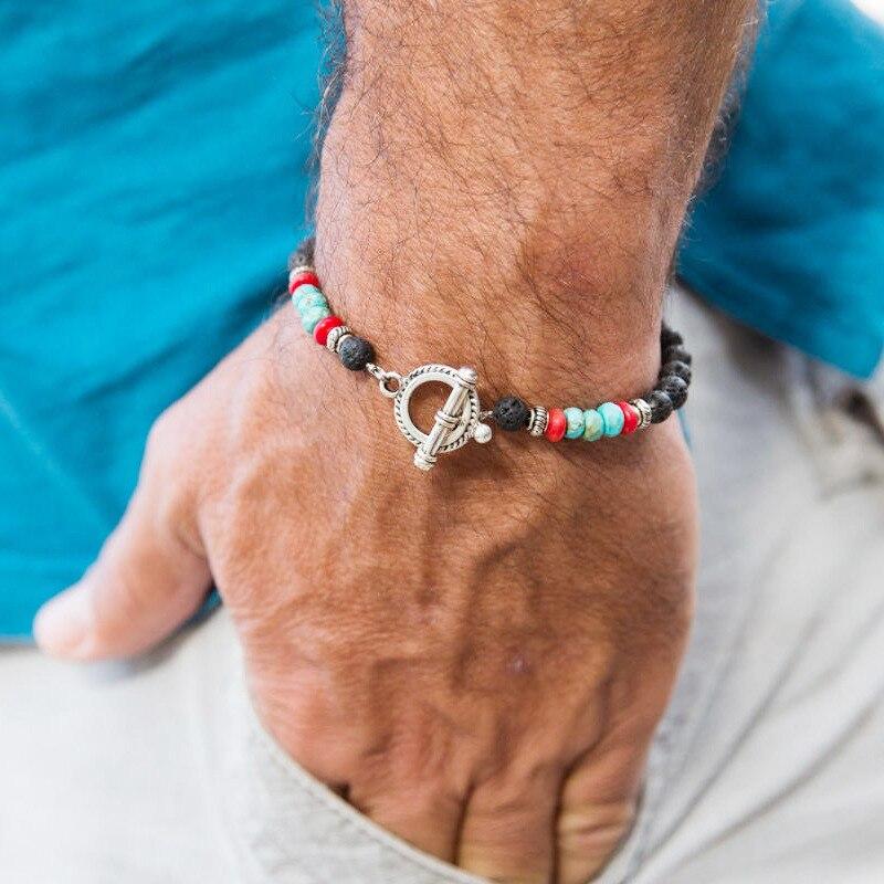 Antique Natural Stone Beads Lava Bracelet Charm Handmade OT Hook Mens Braclet For Men Wristband Jewelry Gift Homme Bileklik