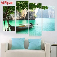 Board Lake Tree Landscape Picture 4 Panel Print Canvas Painting Wall Artwork Home Decoration Giclee Prints