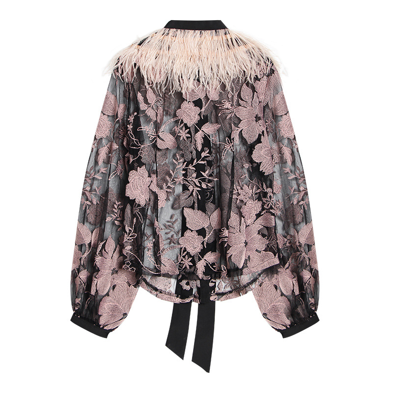 Of Lace Ostrich Top Flower Korean 2019 Spring Stitching Version New Embroidery Women's The Early Romantic Feather 6HyqFwY