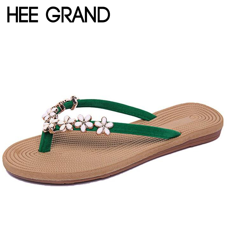 HEE GRAND 2018 New Womens Slides Flowers Decoration Girls Outdoor Slippers Flip Flops Causal Shoes for Beach & Sun XWD6617