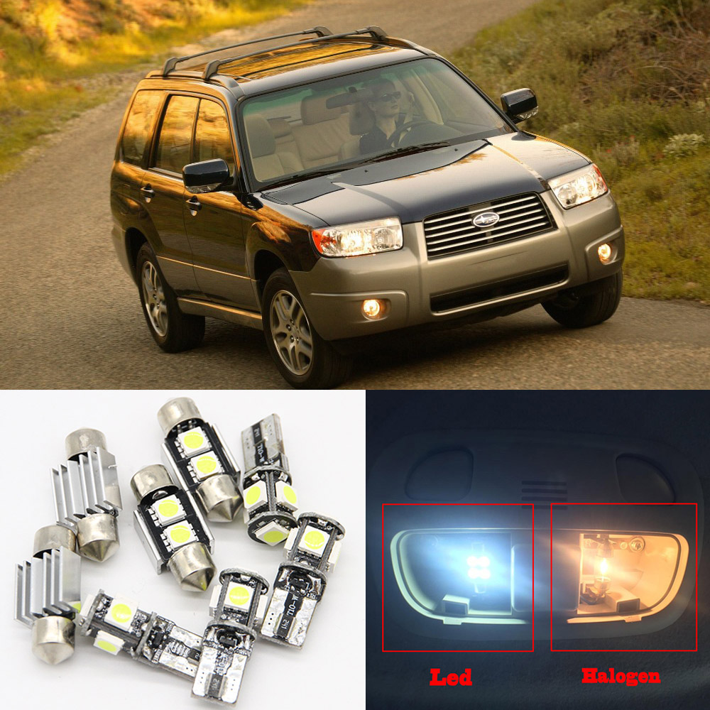 8pcs Xenon White Car Led Light Bulbs Interior Package Kit For 2003 2008 Subaru Forester Canbus Map Dome Trunk License Plate Lamp