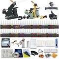 Tattoo Kit Machines 2 guns 54 color Inks Power supply needles set equipment  D100GD