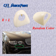 Pair Front L R Headlight Head Light Lamp Washer Cover Cap Unpainted 61677145235 61677145236 For BMW X5 E53 2003 2004 2005 2006
