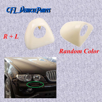 Pair Front L R Headlight Head Light Lamp Washer Cover Cap Unpainted 61677145235 61677145236 For BMW X5 E53 2003 2004 2005 2006 image
