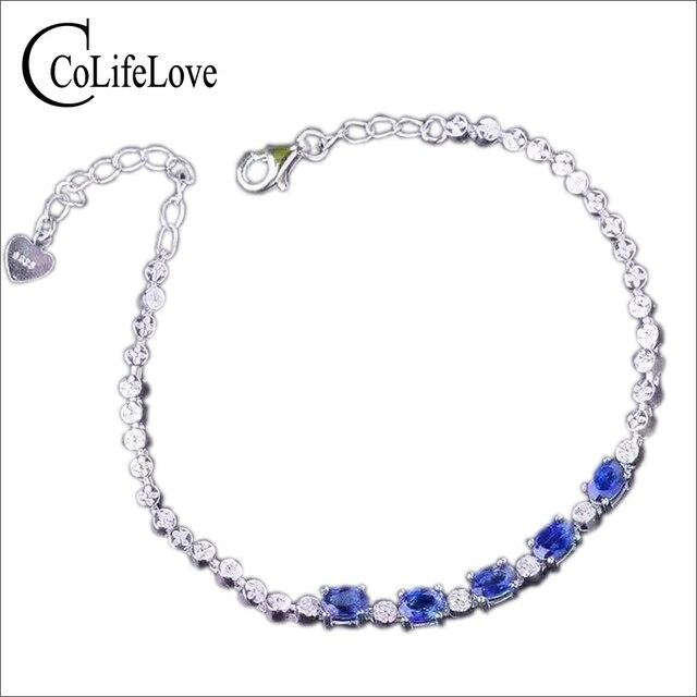 meilleur service f0507 e4285 € 78.5 20% de réduction Bracelet saphir Sri Lanka naturel de luxe bracelet  saphir bleu naturel 2 ct bracelet en argent sterling 925 massif dans ...