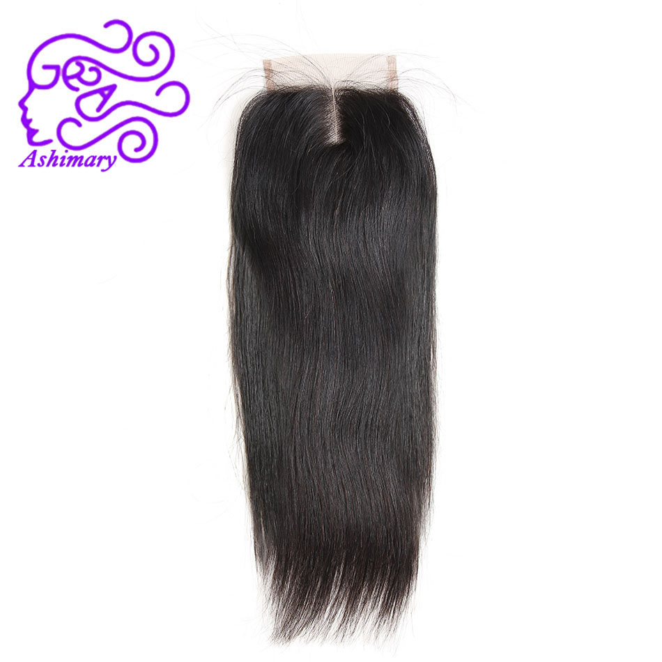 Ashimary Brazilian Straight Hair 4x4Inchs Lace Closure Middle Part Natural Color Remy Hair Closure 100% Human Hair Free Shipping
