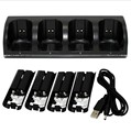 4 Remote Charging Dock Station and 4 Rechargeable Batteries For Wii black