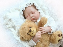 22″ sleeping reborn babies dolls  teddy bear plush dolls silicone reborn dolls child girls toys birthday gift bebe alive boneca