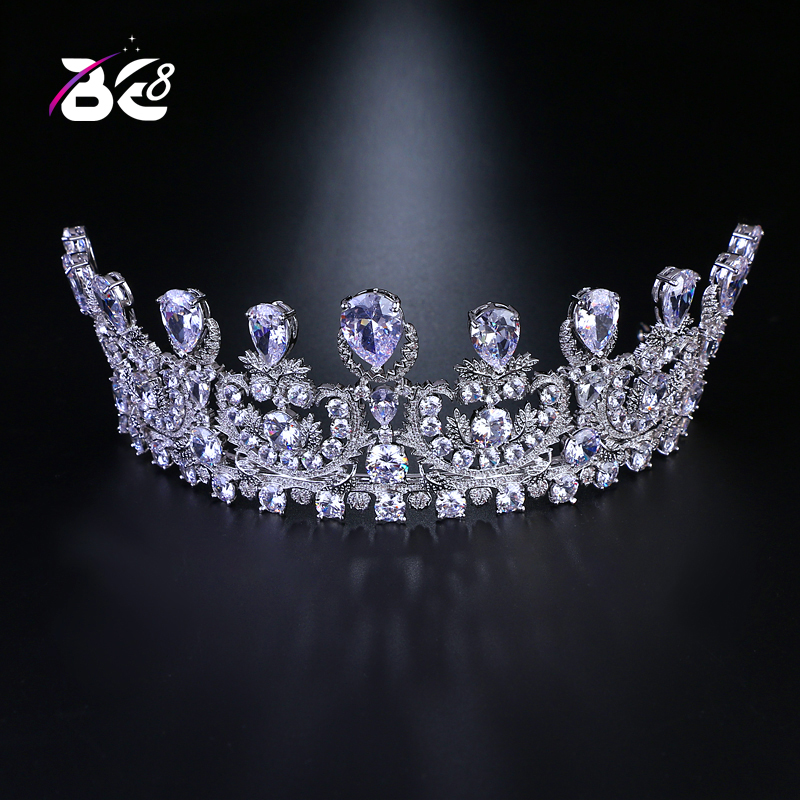 Be 8 europeo AAA zirconia cúbica cristal coronas nupcial boda Tiaras mujeres gran corona novia CZ piedra reina Tiara H090-in Joyería para el cabello from Joyería y accesorios    1