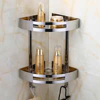 Étagère de salle de bain tenture murale salle de bain trépied 304 acier inoxydable Double stockage poli argent salle de bain matériel coin Rack