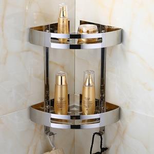 Bathroom Shelf Wall Hanging Bathroom Tripod 304 Stainless Steel Double Storage Polished Silver Bathroom Hardware Corner Rack(China)