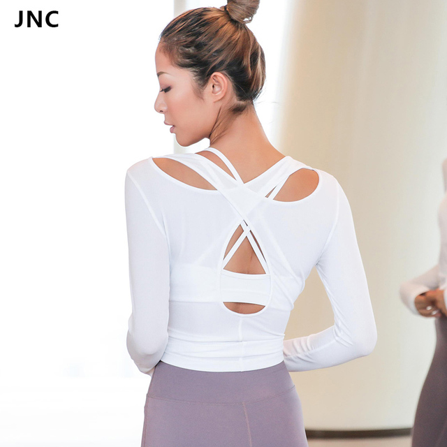 32d9ea678cc43 Women Cross Back Yoga Top Shirts White Backless Workout Tops for Women Long  Sleeve Sports Crop Top Gym Workout Activewear 2018