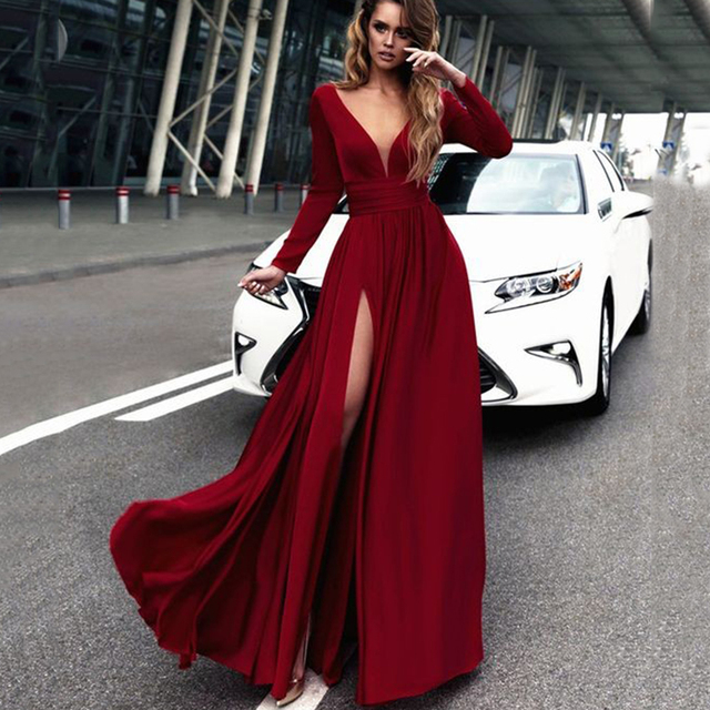 da90c5712e3 2018 Sexy Deep V-neck A-line Bridesmaid Dresses Dark Red Side Split African  Bridal Prom Dress Party Gowns Maid Of Honor Dress