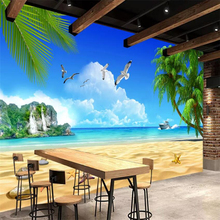 beibehang Custom Photo Wallpaper 3d Mural Beach Coconut Blue Sky White Clouds Island Background Wall paper papel de parede mural