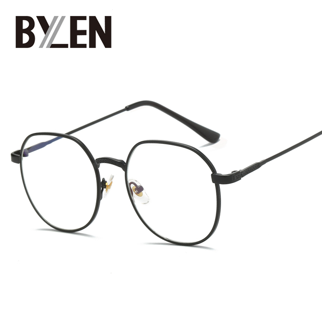 96645510e67d BYLEN Vintage Small Oval Glasses Frames Women Men Retro Metal Eyeglasses  Fame Reading Glasses Prescription Optical