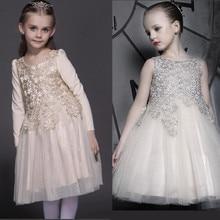 Дети Одеваются Зимние Корейские Девушки Принцесса Золотые Кружева Платье Хлопка Детская Одежда Цветы Полые Сетки