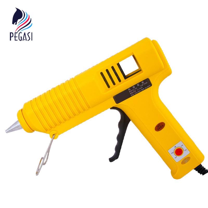 PEGASI Yellow 100W Temperature-Adjustable Electric Thermo Heating Hot Melt Adhesive Glue Gun Pistol Puller For 11mm Glue Stick 100w temperature adjustable hot melt glue gun 220v