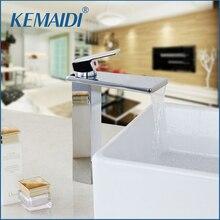 Kemaidi клапан керамический кран Chrome латунь Прилавок Водопад Носик горячей и холодной смеситель Однорычажный Нажмите Ванная комната умывальник, краны
