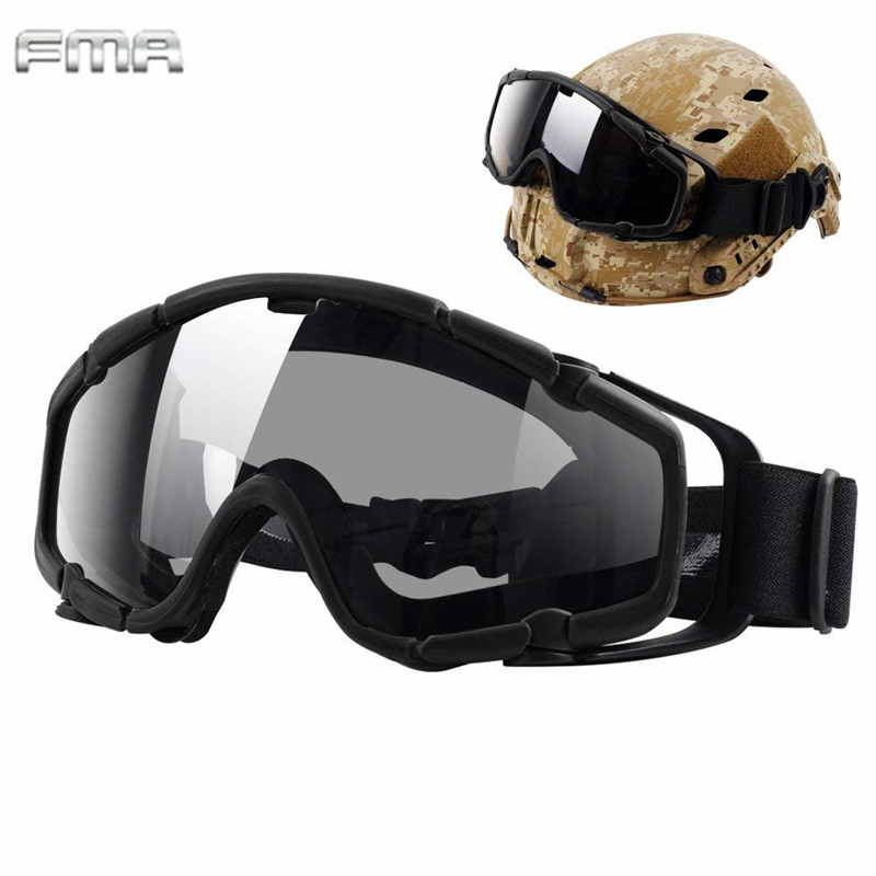 FMA Helmet Goggles Tactical Airsoft Ballistic Anti-Fog Goggles Military Safety Glasses For Helmets With Side Rails BK&Clean Lens
