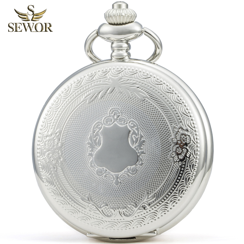 SEWOR Luxury Brand 2018 New Fashion Silver Classical Men Sport Mechanical Pocket Watch Gift C251