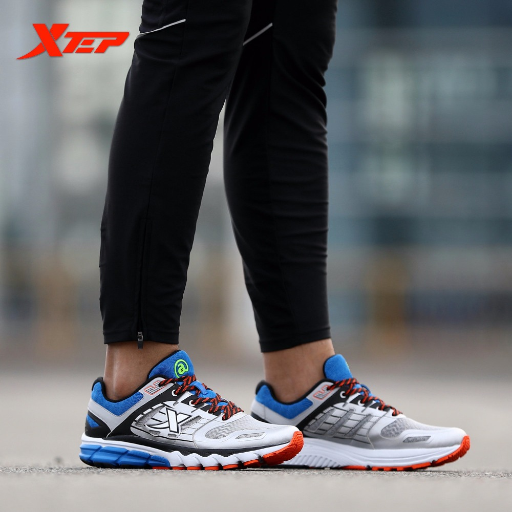 XTEP Original Brand Men's Professional Running Shoes Wearable Sports Trainers Shoes Breathable Athletic Sneakers 983119119157 kelme 2016 new children sport running shoes football boots synthetic leather broken nail kids skid wearable shoes breathable 49