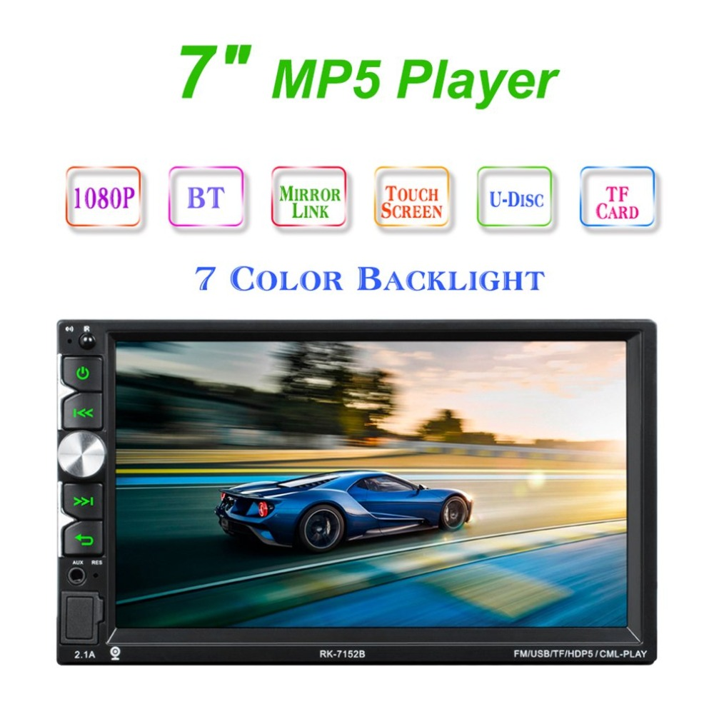 7152 Full HD 1080P Bluetooth Free Hand Call Car MP5 Player 7 Inch Touch Screen Display with Camera Seven Color Backlight7152 Full HD 1080P Bluetooth Free Hand Call Car MP5 Player 7 Inch Touch Screen Display with Camera Seven Color Backlight