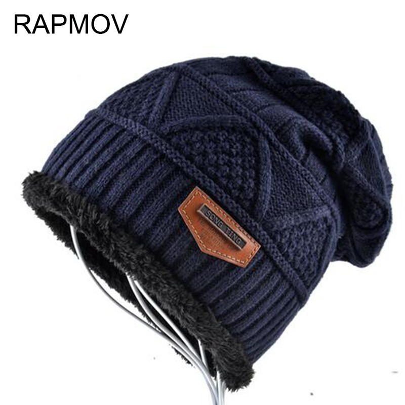 Men's Skullies Hat Bonnet male Winter Beanie Knitted Wool Hat Plus Velvet Cap Thicker Fringe Ski Sports Beanies Hats for men skullies