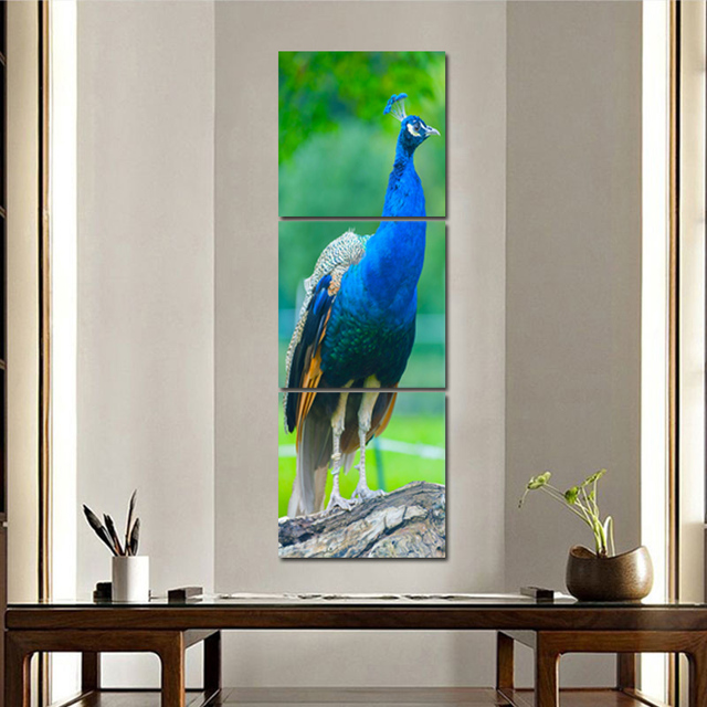 3 Panel Beautiful Blue Peacock Wall Art Painting Cute Animal Canvas Print  Artwork Pics For Living
