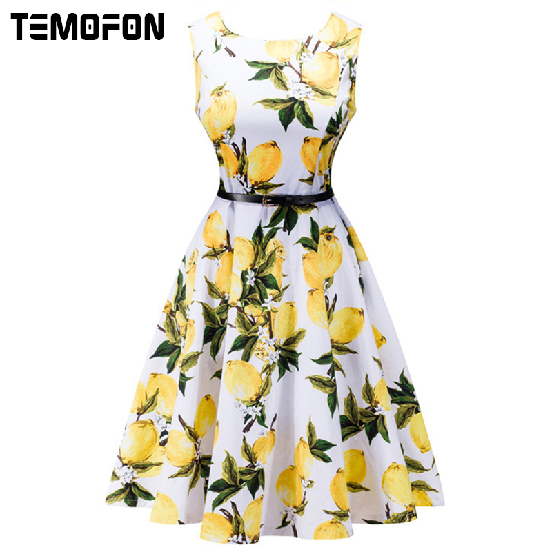 TEMOFON 2018 Women Dresses Printing Sleeveless Summer Dress Fashion Casual O-neck Women Ball Gown office Dress for women DLD08
