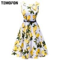 TEMOFON 2018 Women Dresses Printing Sleeveless Summer Dress Fashion Casual O Neck Women Ball Gown Office