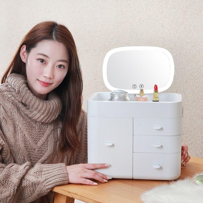 Internet célébrité tendance LED miroir cosmétiques tiroir organisateur multi-couche ménage finition boîte en plastique maquillage boîte de rangement