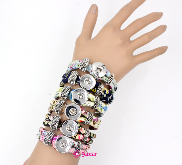 20pcs Lot Whole 6 Colors Chunky Wrap Bracelets Fabric Flower Printed Wrist Bracelet Fit Snap Jewelry Diy In From