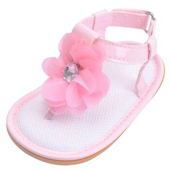 Letnie buciki dziecięce japonki z kwiatem