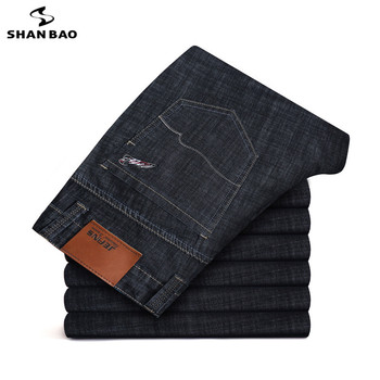 28-46 Large Size Men's Business thin Casual Jeans 2019 new Autumn Brand Pocket Embroidered Cotton Elastic Solid Color Pants 1