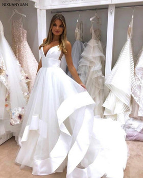 Sexy Spaghetti Straps Open Back Wedding Dress 2020 White Satin Ruffles Puffy Tulle A-line Beach Bridal Gowns Wedding Gown