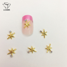 LEAMX 10 PCS/bag Clear White Rhinestone Star Nails Art Decoration 3D Nail Charms Alloy Jewelry For Manicure Decor Nails L379 leamx 50pcs bag nail art decoration 3d silver unicorn shape shiny horse alloy nails charms for manicure decor 12 8mm l460