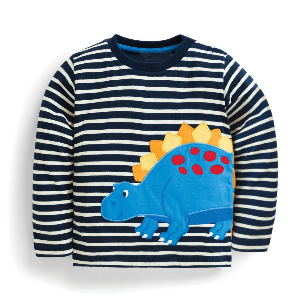 Boy T Shirt with Animal Applique Baby Boys Clothes Kids Long Sleeve Tops Cotton Sweatshirts Children T shirts for Boys Clothing crew neck color block triangle applique long sleeve t shirt