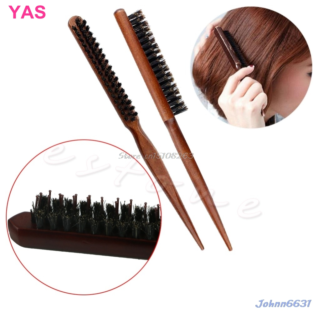 New Salon Comb rambut Teasing Brush Wooden Handle Back Comb Natural Boar Bristle # Y207E # Hot Sale