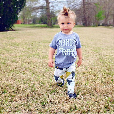 Summer 2017 Newborn Baby Boy Clothes Short Sleeve Cotton T-shirt Tops +Geometric Pant 2PCS Outfit Toddler Kids Clothing Set 5