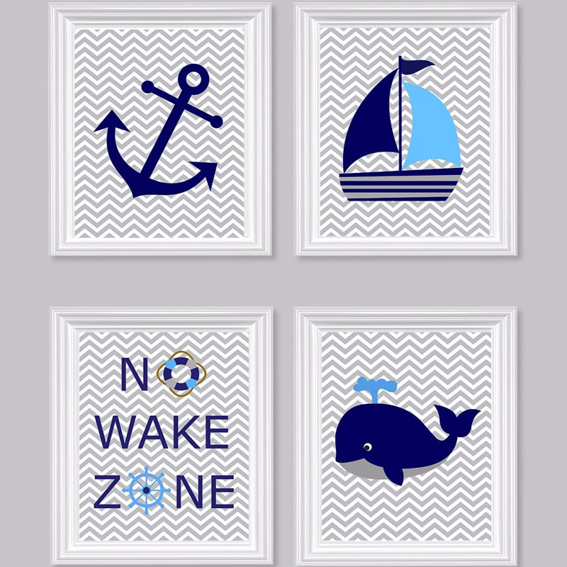 Nautical Nursery Prints No Wake Zone Sailboat Whale Anchor Ocean Nursery Art Canvas Wall