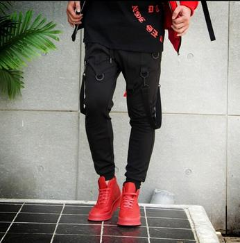 2020 spring autumn personality round belt ribbon slim elasticity Hanging crotch trousers mens feet pants novelty original news