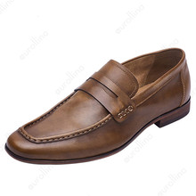 Loafer Shoes Cow Leather Fashion Classic British Gentlemen Casual Luxury Mens Slip In Leisure Man