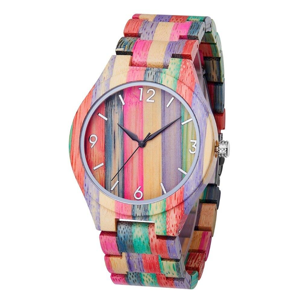 TJW 2019 nouveau mode Quartz coloré bambou cadran moderne montre-bracelet meilleur cadeau pour les hommes dans une boîte en bois